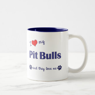 I Love My Pit Bulls (Multiple Dogs) Two-Tone Coffee Mug
