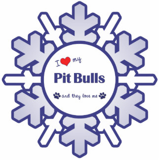I Love My Pit Bulls (Multiple Dogs) Photo Sculpture Decoration