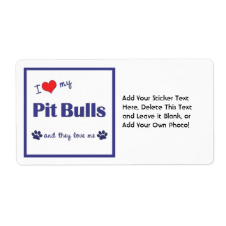 I Love My Pit Bulls (Multiple Dogs) Shipping Label