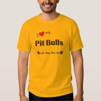 I Love My Pit Bulls (Multiple Dogs) Tshirt