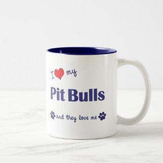 I Love My Pit Bulls (Multiple Dogs) Two-Tone Mug