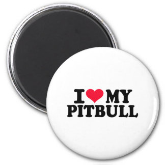 I love my Pitbull 6 Cm Round Magnet