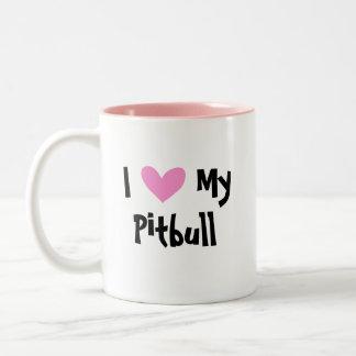 I Love My Pitbull / American Staffordshire Terrier Two-Tone Coffee Mug