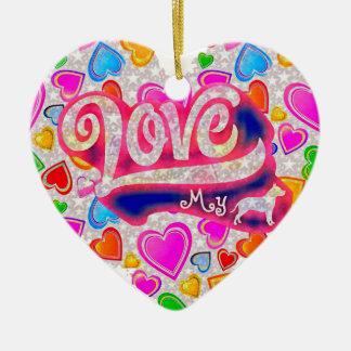 I Love My Pitbull Ceramic Heart Decoration
