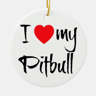 I Love My Pitbull Christmas Ornament