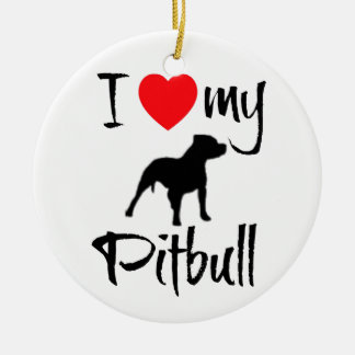 I Love My Pitbull Round Ceramic Decoration