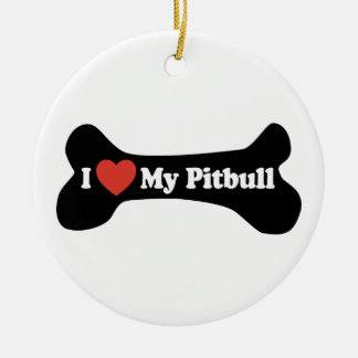 I Love My Pitbull - Dog Bone Christmas Ornament