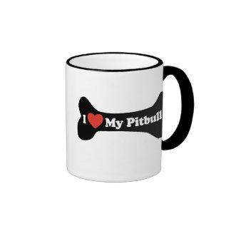 I Love My Pitbull - Dog Bone Mug