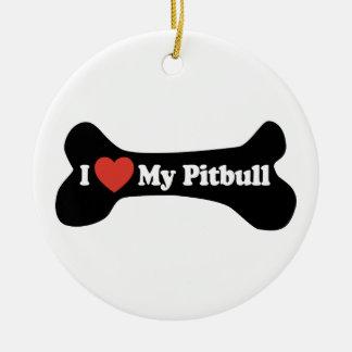 I Love My Pitbull - Dog Bone Round Ceramic Decoration