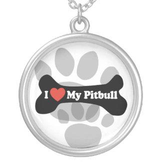 I Love My Pitbull - Dog Bone Silver Plated Necklace