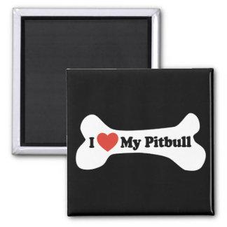 I Love My Pitbull - Dog Bone Square Magnet