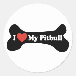 I Love My Pitbull - Dog Bone Round Sticker