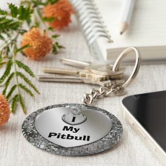 I Love My Pitbull Heart Keychain