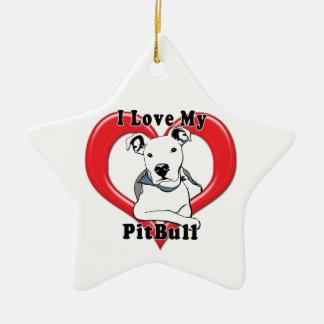 I Love My PitBull Logo Ceramic Star Decoration