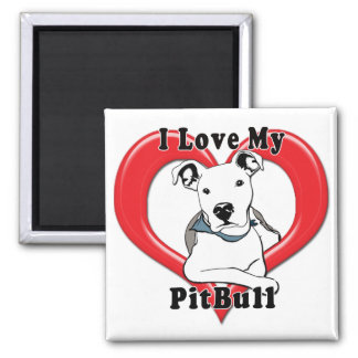 I Love My PitBull Logo Square Magnet