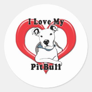 I Love My PitBull Logo Round Sticker