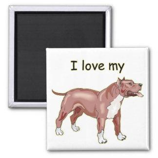I Love My Pitbull Refrigerator Magnet