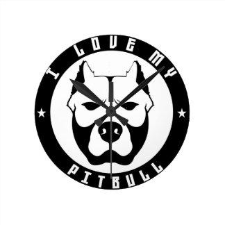 I LOVE MY PITBULL PIT BULL pet dog breed Round Clocks
