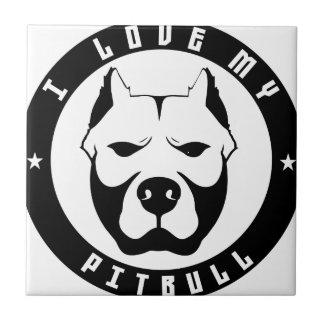 I LOVE MY PITBULL PIT BULL pet dog breed Tiles