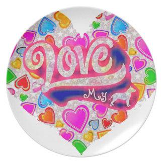 I Love My Pitbull Plate