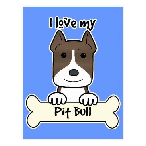 I Love My Pitbull Postcards
