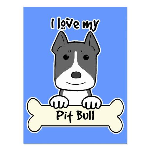 I Love My Pitbull Post Card