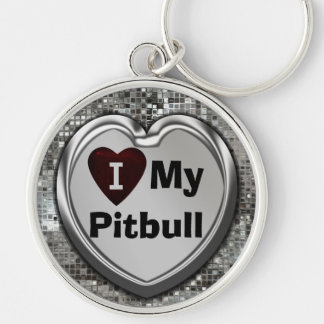 I Love My Pitbull Premium Heart Keychain