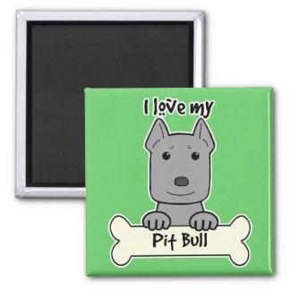 I Love My Pitbull Square Magnet