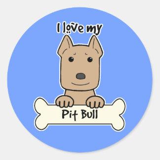 I Love My Pitbull Classic Round Sticker