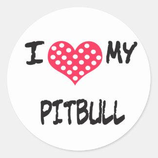 I love my Pitbull Round Stickers