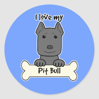 I Love My Pitbull Round Sticker