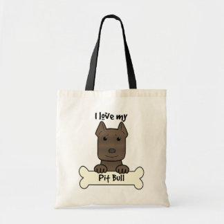 I Love My Pitbull Tote Bag