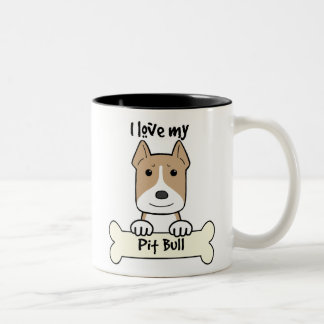 I Love My Pitbull Two-Tone Coffee Mug