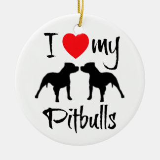 I Love My Pitbulls Round Ceramic Decoration