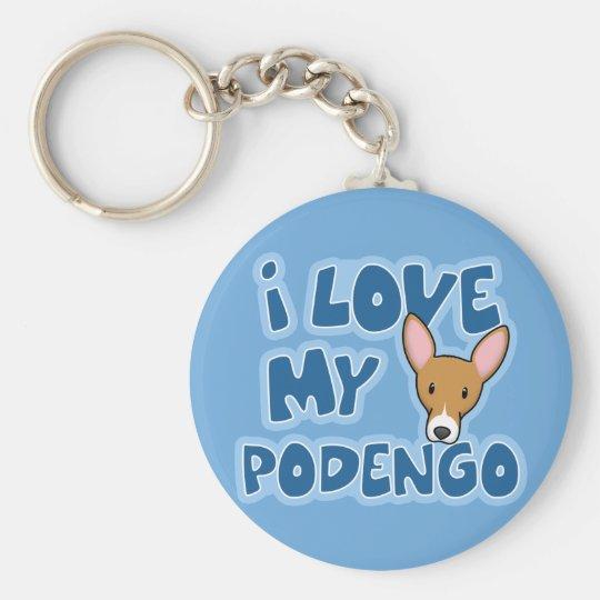 I Love My Podengo Keychain