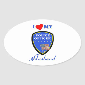 I Love My Police Husband Oval Stickers