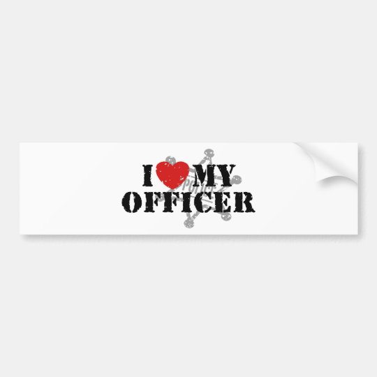 I Love My Police Officer Bumper Sticker