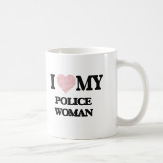 I love my Police Woman (Heart Made from Words) Basic White Mug