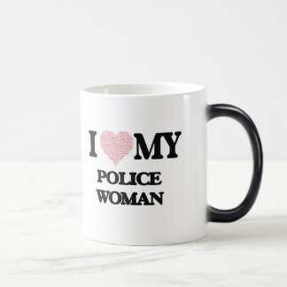 I love my Police Woman (Heart Made from Words) Morphing Mug