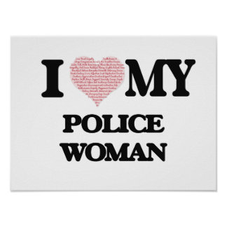 I love my Police Woman (Heart Made from Words) Poster