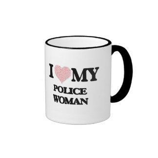 I love my Police Woman (Heart Made from Words) Ringer Mug