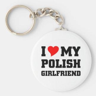 I love my polish girlfriend basic round button key ring