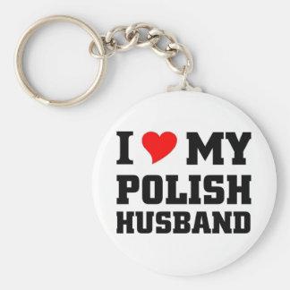 I love my Polish Husband Basic Round Button Key Ring