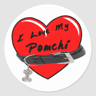 I Love My Pomchi Heart with Dog Collar Round Stickers