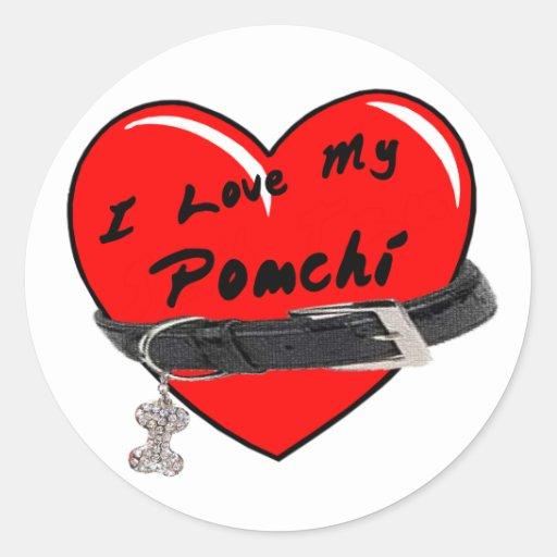 I Love My Pomchi Heart with Dog Collar Round Stickers