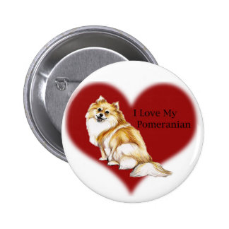 """I Love My Pomeranian"" Dog Art Button"