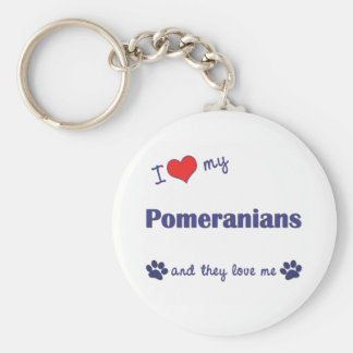 I Love My Pomeranians (Multiple Dogs) Key Ring
