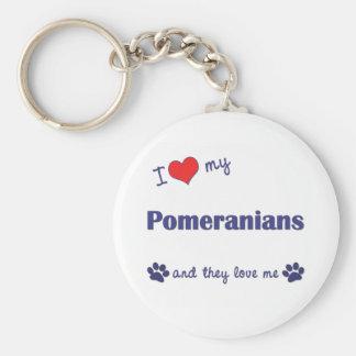 I Love My Pomeranians (Multiple Dogs) Basic Round Button Key Ring