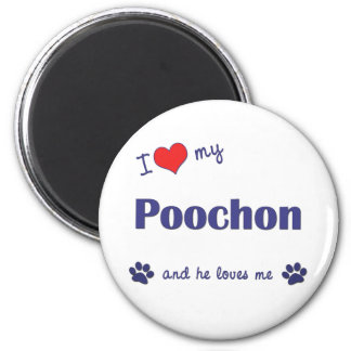 I Love My Poochon (Male Dog) 6 Cm Round Magnet