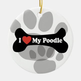 I Love My Poodle - Dog Bone Christmas Ornament